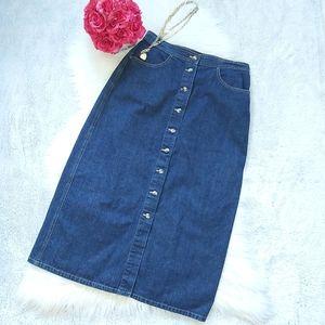 Gloria Vanderbilt Vintage Button Denim Jean Skirt
